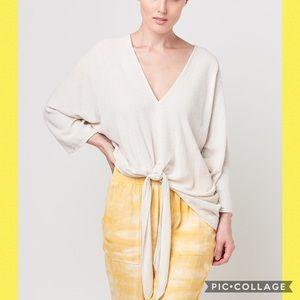 Tina + Jo Raw Silk Tie Front Kimono Top